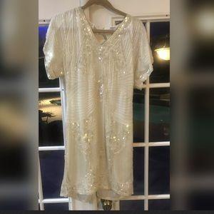 1920s Gatsby Beaded Silk Cocktail Dress